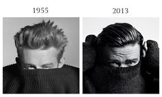 James Dean by Phil Stern, 1955 and Justin Timberlake by Heidi Slimane for NY Times Style Men's Fall Fashion 2013.
