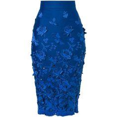Ermanno Scervino Frayed Flower Appliqué Skirt (1,535 CAD) ❤ liked on Polyvore featuring skirts, bottoms, blue, blue skirt, flower skirt, applique skirt and ermanno scervino
