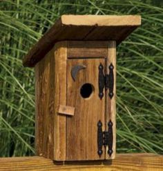 Amish Rustic Outhouse Garden Bird House Outdoor Accents Collection What's the point in decorating if you can't have a little fun with it? Made with a smile by an expert Amish woodworker - Garden and Home Decorative Bird Houses, Bird Houses Diy, Birdhouse Designs, Birdhouse Ideas, Rustic Birdhouses, Birdhouse Post, Birdhouse Craft, Bird House Feeder, Rustic Bird Feeders