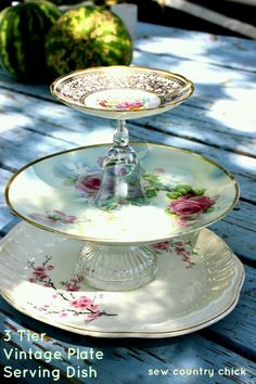 [orginial_title] – Lizzy Santiago Sew Country Chick: fashion sewing and DIY: 3 Tier Vintage Plate Server Tutorial…. Sew Country Chick: fashion sewing and DIY: 3 Tier Vintage Plate Server Tutorial…attached with gorilla glue Tiered Stand, Tiered Server, Vintage Plates, Vintage China, Photo Charms, Deco Table, Cake Plates, Dessert Plates, High Tea