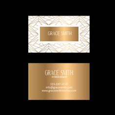 Gold white Business Card Design - geometric Business Card - Premade Business Card - Printable Business - Calling Card - Luxury Business Card Custom Logo Design, Custom Logos, Luxury Business Cards, Printable Business Cards, Business Logo Design, Calling Cards, Business Names, Text Color, Card Templates