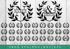 Download Wreath Monogram Free SVG, PNG, DXF & EPS file for your DIY project. Files compatible with Cricut, Cameo Silhouette Studio!