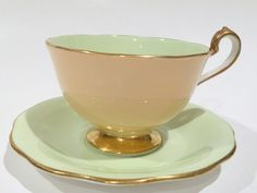 Vintage Tea Cup and Saucer Queen Anne Cup Green by AprilsLuxuries