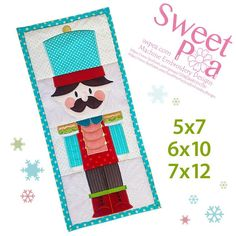 Nutcracker table runner 5x7 6x10 7x12 in the hoop machine embroidery design