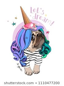 Vector illustration with Pug Dog in a striped cardigan, color wig and in a ice cream party cap. Let's dream - lettering quote. Poster, hand drawn style t-shirt print - compre este vetor na Shutterstock e encontre outras imagens. Striped Cardigan, Christmas Pictures To Draw, Bulldog Drawing, Pug Cartoon, Pug Art, Colouring Pics, Illustration, All Things Cute, Pug Love