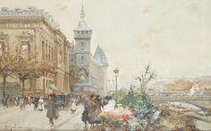 Цветочный рынок на Сене (20.5 х 33 см). Eugene Galien-Laloue