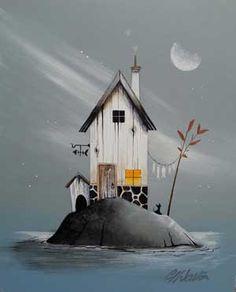 : Gary Walton originals and prints at Beaulieu Fine Arts Illustrations, Illustration Art, Pintura Country, House Drawing, Primitive Folk Art, Naive Art, Whimsical Art, Beach Art, Painting Inspiration