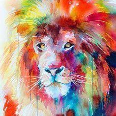 Lion watercolor painting print lion art animal art by SlaviART: Art Watercolor, Watercolor Animals, Watercolor Tattoos, Watercolor Portraits, Painting & Drawing, Painting Prints, Lion Painting, Art Prints, Sofa Drawing