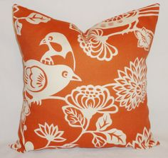 OUTDOOR Aviary Orange Bird Pillow Cover Cushion by HomeLiving