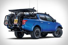 """The Mitsubishi pickup has gained an extreme off-road sibling appropriately named the """"Desert Warrior. Mitsubishi L200 2017, Mitsubishi Truck, Mitsubishi Motors, Mitsubishi Strada, Motorcycle Camping, Camping Gear, Truck Camping, Pick Up, Triton 4x4"""