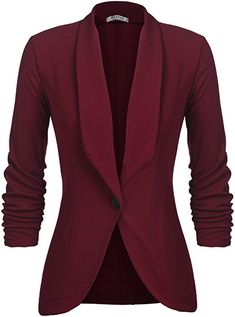 online shopping for Beyove Beyove Women's Ruched Sleeve Open Front Lightweight Work Office Blazer Jacket from top store. See new offer for Beyove Beyove Women's Ruched Sleeve Open Front Lightweight Work Office Blazer Jacket Casual Blazer Women, Blazer Jackets For Women, Blazers For Women, Suits For Women, Ladies Suits, Suit Jackets, Look Blazer, Knit Blazer, Blazer Pattern