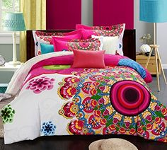 Hyam National Style Totem Flower Printing 200 Thread-count 100% Cotton 3pc Duvet Cover Sets with Additional Free Flat Sheet As Gift - 100% Guarantee Fadeless and Wrinkle Resistant (Full, Flower Type5)
