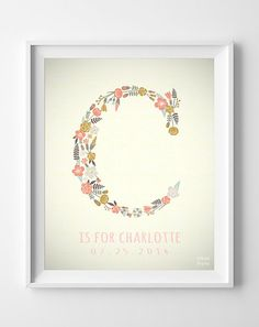 Custom Baby Name Art- Charlotte, Letter C Monogram Nursery Art, Initial Art, Alphabet C, Girl, Initial, Nursery Print, Wall Decor [NO 249]