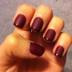 Opi quarter of a cent-cherry base with Essie matte about you topcoat and then the opi color again on the tips.