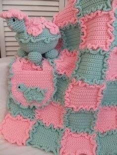 Crochet Pattern Baby Blanket Turtle and Bib FREE SHIPPING. $7.99, via Etsy.