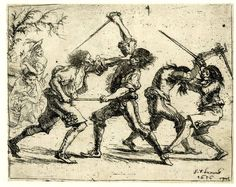 Illustration of a street fight with rapiers, 1656
