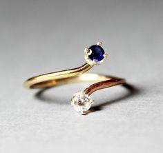 Dual Birthstone Ring - Sapphire Cubic Zirconia Ring - 14K Gold Filled Ring -Double Birthstone Ring by LyndyLouDesigns on Etsy