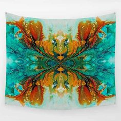 """Teal, Turquoise and Burnt Orange Abstract Wall Hanging Tapestry """"Phoenix"""""""