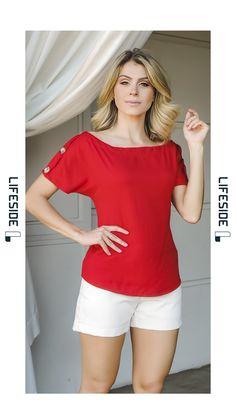 LIFESIDE, Moda Feminina Primavera Verão 2019.      Blusa vermelha.  Blusa manga ampla.. Blusa botões tartaruga. Blusa linda. Blusa de verão elegante.  #ModaFeminina #LookDoDia #Looks #ModaPrimaveraVerao #Lifeside #Lookbook #Moda #Fashion #OOTD #SpringSummer2019 #Look #Estilo #Style #PrimaveraVeraoTendencias #Trends #ModaExecutiva #ModaModesta #LooksFemininos Moda Fashion, Womens Fashion, Western Tops, Blusher, V Neck, Sexy, Casual, Clothes, Dresses