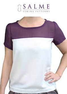 PDF Sewing pattern  Color Block Tshirt by Salmepatterns on Etsy...could merge with macaron heart neckline someway, somehow...