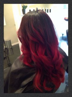 Red balayage ombré highlights