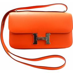 Pre-Owned Hermès Orange Swift Leather Constance Elan ($12,999) ❤ liked on Polyvore featuring bags, handbags, shoulder bags, orange, leather crossbody, leather shoulder handbags, hermes handbags, leather crossbody handbags and over the shoulder bag