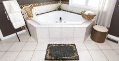 Here's a gorgeous way to use river stones in your bathroom