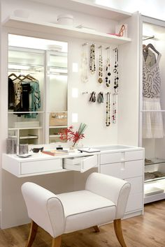 white modern dressing table design for small bedroom interior This is a full guide to choosing your 2018 Dressing tables for bedroom: design, style, ideas, storage, modern dressing table designs for small bedrooms Closet Bedroom, Bedroom Decor, Master Closet, Bedroom Ideas, Closet Office, Bedroom Interiors, Bedroom Wall, Bedroom Furniture, Closet Vanity