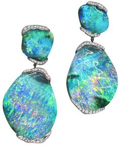 Mimi So's ZoZo boulder opal earrings: 101 carats of boulder opal and .80 carat of pave diamonds set in 18 karat white gold. Via Diamonds in the Library.