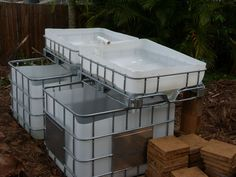 Aquaponics setup from IBC totes.  Find on craigslist for $60 - $100 each.
