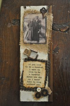 Weathered Wood Art With Photo, Burlap,  Rusty Trinkets, and Buttons