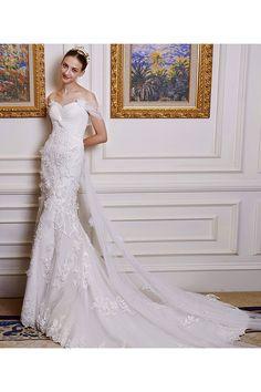 Few Moda - Plunging Neck Mermaid Wedding Dress in White $449.99