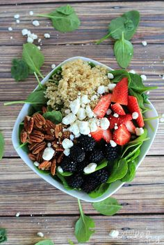Detox Berry Quinoa Spinach Salad with Sweet Shallot Vinaigrette + Giveaway by Joyful Healthy Eats