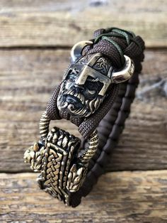"""Paracord bracelet """"Viking"""" with adjustable clasp - Scandinavian jewelry - viking jewelry Viking Bracelet, Skull Bracelet, Viking Jewelry, Ancient Jewelry, Bracelet Clasps, Paracord Bracelets, Bracelets For Men, Jewelry Bracelets, Lion Bracelet"""