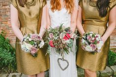 Image by Ellie Gillard - A Stylish Wedding At Shustoke Farm Barns In Warwickshire With Bride In Jenny Packham And Bridesmaids In Gold Dresses From Hobbs With Navy Suede Shoes From Whistles And Giant Love Letters With Game Of Thrones Inspired Table Plan