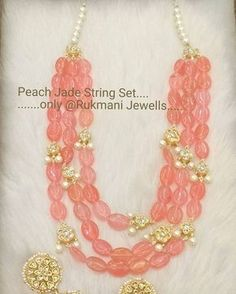 Peach Jade String set ......only @Rukmani Jewells...... For more details or…