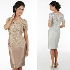 Cheap Lace Applique Mother Of The Bride Dresses Short Sleeve Jewel Neck Mother'S Evening Dress With Ribbons Knee Length Mother'S Prom Gowns Grandmother Of The Bride Dress Groom Mother Dress From Manweisi, $124.61| Dhgate.Com