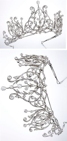 Platinum & Diamond Tiara-Necklace - Belle Époque design of ribbon scroll, bow & foliate flourishes, top set w/pear-shaped diamond, accented by old European, single & rose-cut diamonds, signed V.C.A; w/white metal frame & 2 detachable sections, w/ French assay mark and French workshop marks for Vassort; circa 1915. W/box.