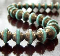 Turquoise and Bronze Czech Glass Beads