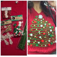 DIY Ugly Christmas Sweater for work party. I used my glue gun and I got stencil stems, Pom-Poms, bells and bows from Dollar Tree. Homemade Ugly Christmas Sweater, Tacky Christmas Sweater, Christmas Shirts, Christmas Diy, Xmas Sweaters, Ugly Sweater, Work Party, Glue Gun, Dollar Tree