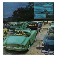 """""""Drive-In Movies,"""" August 19, 1961 Giclee Print by George Hughes at AllPosters.com"""