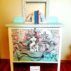 21 Best Ideas For Cool Furniture Dream Rooms Interiors Mermaid Bedroom, Mermaid Nursery, Hand Painted Furniture, Cool Furniture, Casa Disney, Disney Furniture, Disney Home Decor, Little Girl Rooms, Dream Rooms