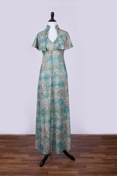 60's Printed Halter Maxi Dress with Matching by BirchEdenVintage