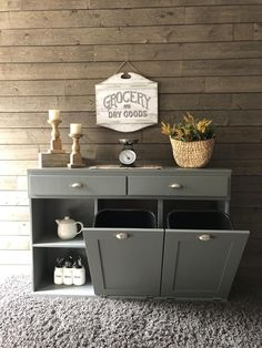 Triple size dual tilt out trash bin with storage drawers and shelf Cityscape Gray Closet Storage Drawers, Storage Bins, Diy Storage, Kitchen Storage, Cool Things To Build, Trash Can Cabinet, Garbage Storage, Kitchen Trash Cans, Trash Bins