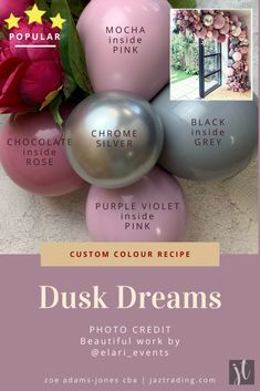 Dusk Dreams - Custom Balloon Colours This is THE most requested colour recipe we get asked for by ou Balloon Columns, Balloon Arch, Balloon Garland, Balloons Galore, Up Balloons, Love Balloon, Balloon Gift, Ballon Backdrop, Deco Ballon