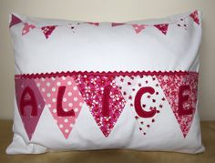 Personalised Cushion with Bunting  Applique. £28.00, via Etsy.