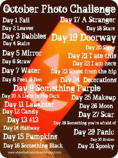 October Photo Challenge. Maybe I'll try this.