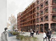 Image 1 of 9 from gallery of White Arkitekter Wins Competition with Brick Housing Development in Stockholm Royal Seaport. Photograph by White Arkitekter Modern Residential Architecture, Residential Building Design, Brick Architecture, Architecture Graphics, Architecture Drawings, Architecture Collage, Concept Architecture, 3d Architectural Visualization, Architecture Visualization