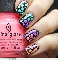 Colorful Nails #easter #polkadots