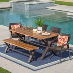 Ozark Outdoor Rectangle Wicker Wood Dining Set with Cushions by Christopher Knight Home (Teak Finish + Rustic Finish + Multibrown + Beige), Brown, Size Sets, Patio Furniture Outdoor Table Settings, Outdoor Tables And Chairs, Outdoor Dining Set, Patio Dining, Outdoor Decor, Outdoor Spaces, Dining Set With Bench, Wicker Dining Chairs, Dining Sets